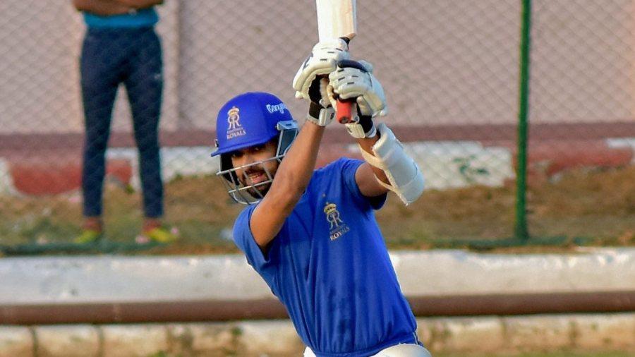 Ajinkya Rahane bats in the Rajasthan Royals nets
