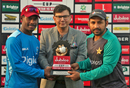 Jason Mohammed and Sarfraz Ahmed pose with the T20I series trophy, Pakistan v West Indies, 1st T20I, Karachi, April 1, 2018