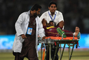 Veerasammy Permaul gestures as he lies on a stretcher after being injured, Pakistan v West Indies, 1st T20I, Karachi, April 1, 2018