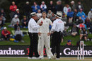 Joe Root discusses the light with the umpires, New Zealand v England, 2nd Test, Christchurch, 4th day, April 2, 2018