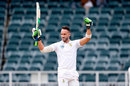 Faf du Plessis raises his arms to celebrate his century, South Africa v Australia, 4th Test, 4th day, Johannesburg, April 2, 2018