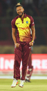 Rayad Emrit celebrates a wicket with a leap, Pakistan v West Indies, 2nd T20I, Karachi, April 2, 2018