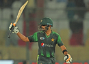 Babar Azam celebrates his half-century, Pakistan v West Indies, 2nd T20I, Karachi, April 2, 2018