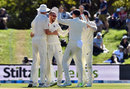 Jack Leach celebrates his maiden Test wicket, New Zealand v England, 2nd Test, Christchurch, 5th day, April 3, 2018