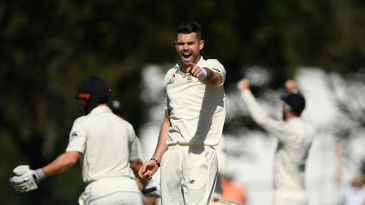 James Anderson celebrates the wicket of Henry Nicholls