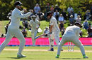 Henry Nicholls was caught at first slip off James Anderson, New Zealand v England, 2nd Test, Christchurch, 5th day, April 3, 2018