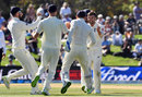 Mark Wood celebrates his dismissal of BJ Watling, New Zealand v England, 2nd Test, Christchurch, 5th day, April 3, 2018