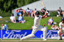 Colin de Grandhomme drives early in his innings, New Zealand v England, 2nd Test, Christchurch, 5th day, April 3, 2018