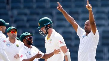 Vernon Philander celebrates another wicket