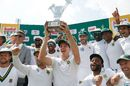 Morne Morkel holds the trophy aloft, South Africa v Australia, 4th Test, Johannesburg, April 3, 2018