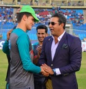 Shaheen Afridi receives his cap from Wasim Akram, Pakistan v West Indies, 3rd T20I, Karachi, April 3, 2018