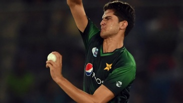 Shaheen Afridi in his delivery stride