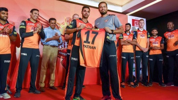 Yusuf Pathan has his Sunrisers jersey unveiled at an event
