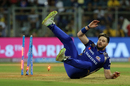 Mitchell McClenaghan took a tumble while trying to run out Ambati Rayudu, Mumbai Indians v Chennai Super Kings, IPL 2018, Mumbai, April 7, 2018