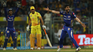 Mayank Markande appeals for the wicket of MS Dhoni