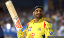 Harbhajan Singh flashes a smile before going in to bat, Mumbai Indians v Chennai Super Kings, IPL 2018, Mumbai, April 7, 2018