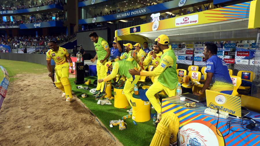 An elated CSK dugout burst into ecstacy as Kedar Jadhav hit the winning runs