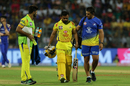 Kedhar Jadhav walks back to the pavilion after hurting his left hamstring, Mumbai Indians v Chennai Super Kings, IPL 2018, Mumbai, April 7, 2018