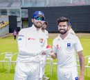Dinesh Chandimal and Niroshan Dickwella pose with the pink ball, Kandy v Colombo, Super Four Provincial Tournament 2018, Hambantota, April 8, 2018