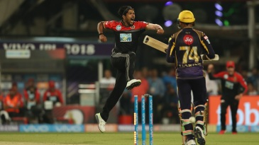 Umesh Yadav is thrilled after dismissing Sunil Narine