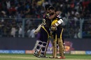 Dinesh Karthik and Vinay Kumar celebrate Knight Riders' win, Kolkata Knight Riders v Royal Challengers Bangalore, IPL 2018, Eden Gardens, April 8, 2018