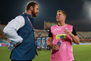 Shane Warne, the Rajasthan Royals mentor, talks to commentator Simon Doull, Sunrisers Hyderabad v Rajasthan Royals, IPL 2018, Hyderabad, April 9, 2018