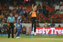 Billy Stanlake towers over the rest as he jumps during his delivery stride, Sunrisers Hyderabad v Rajasthan Royals, IPL 2018, Hyderabad, April 9, 2018