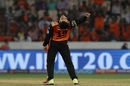 Rashid Khan bends over backwards to celebrate a wicket, Sunrisers Hyderabad v Rajasthan Royals, IPL 2018, Hyderabad, April 9, 2018
