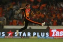 Siddarth Kaul takes flight as he celebrates a wicket, Sunrisers Hyderabad v Rajasthan Royals, IPL 2018, Hyderabad, April 9, 2018