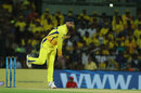 Harbhajan Singh bowls in yellow gear, Chennai Super Kings v Kolkata Knight Riders, IPL 2018, Chennai, April 10, 2018
