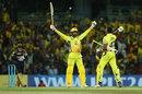 Ravindra Jadeja flexes his arms as he watches the ball sail for the winning runs, Chennai Super Kings v Kolkata Knight Riders, IPL 2018, Chennai, April 10, 2018