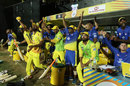 The Chennai dugout reacts to the winning six, Chennai Super Kings v Kolkata Knight Riders, IPL 2018, Chennai, April 10, 2018