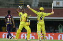 Celebration time for Dwayne Bravo and Ravindra Jadeja, Chennai Super Kings v Kolkata Knight Riders, IPL 2018, Chennai, April 10, 2018