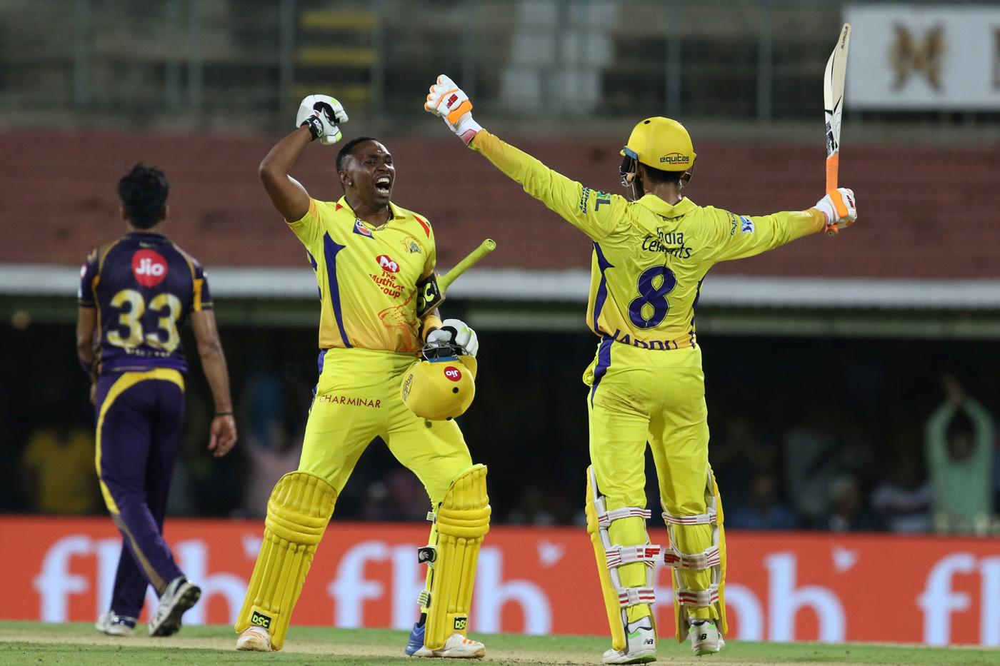 Celebration time for Dwayne Bravo and Ravindra Jadeja | Photo | Global | ESPNcricinfo.com