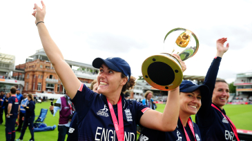 Nat Sciver celebrates the World Cup win at Lord's with her team-mates
