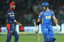 Glenn Maxwell has a chat with the dismissed D'Arcy Short, Rajasthan Royals v Delhi Daredevils, IPL 2018, Jaipur, April 11, 2018