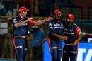 Colin Munro, Vijay Shankar and Rahul Tewatia celebrate a wicket, Rajasthan Royals v Delhi Daredevils, IPL 2018, Jaipur, April 11, 2018