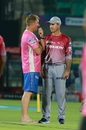 Shane Warne and Ricky Ponting, coaches at the IPL, have a chat in Jaipur, Rajasthan Royals v Delhi Daredevils, IPL 2018, Jaipur, April 11, 2018
