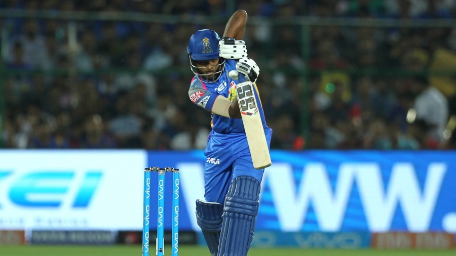 Sanju Samson punches the ball down the ground