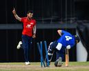 Saqib Mahmood bowls Ollie Pope in the North v South series, Bridgetown, March 21, 2018