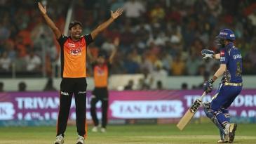 Sandeep Sharma appeals for the wicket of Pradeep Sangwan