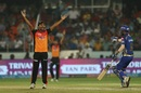Sandeep Sharma appeals for the wicket of Pradeep Sangwan, Sunrisers Hyderabad v Mumbai Indians, IPL 2018, Hyderabad, April 12, 2018