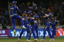Mayank Markande is congratulated by his team-mates , Sunrisers Hyderabad v Mumbai Indians, IPL 2018, Hyderabad, April 12, 2018