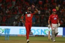 Kulwant Khejroliya celebrates Karun Nair's wicket, Royal Challengers Bangalore v Kings XI Punjab, IPL 2018, Bengaluru, April 13, 2018