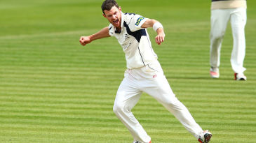 James Harris celebrates a wicket