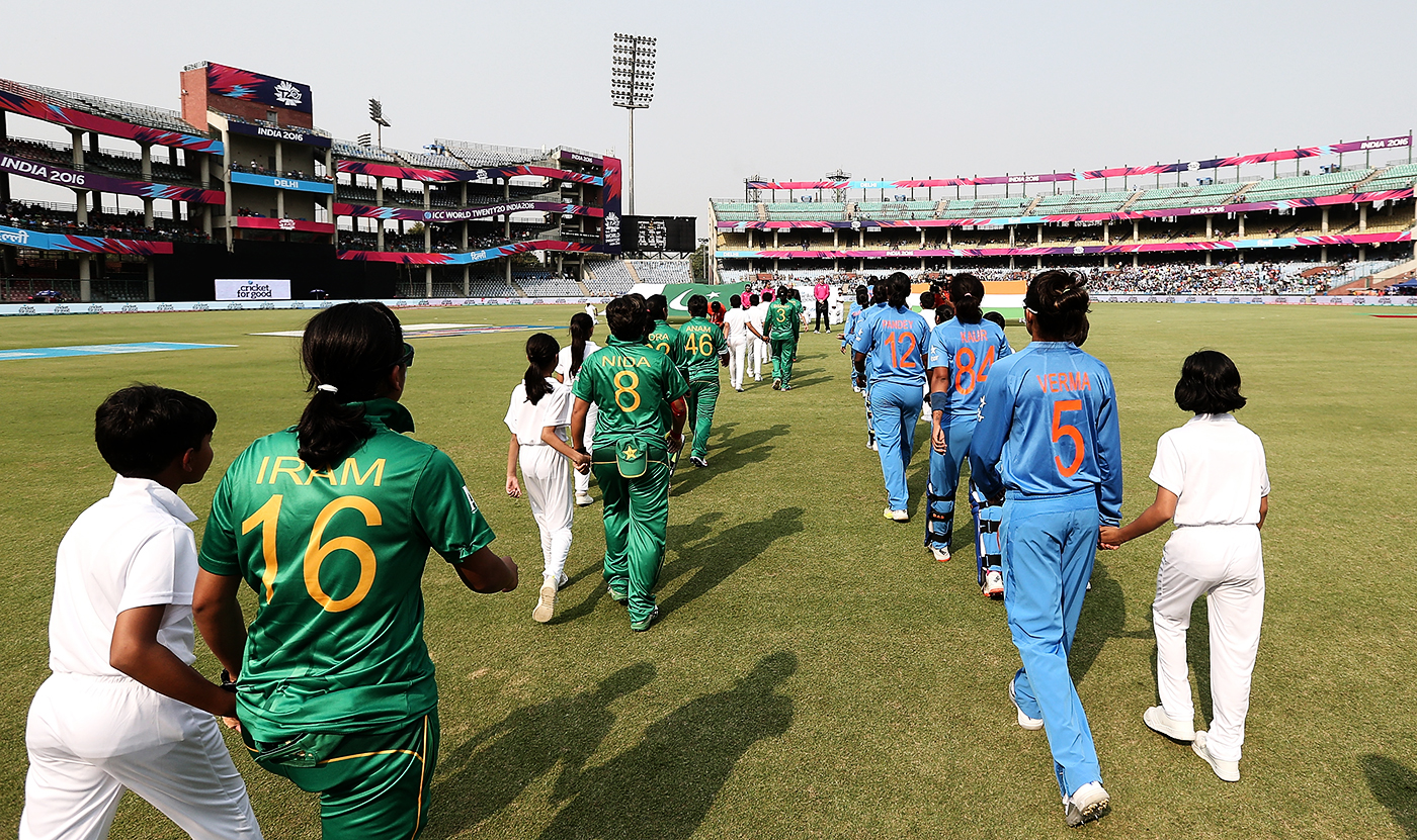 India and Pakistan's women's teams walk out for the match