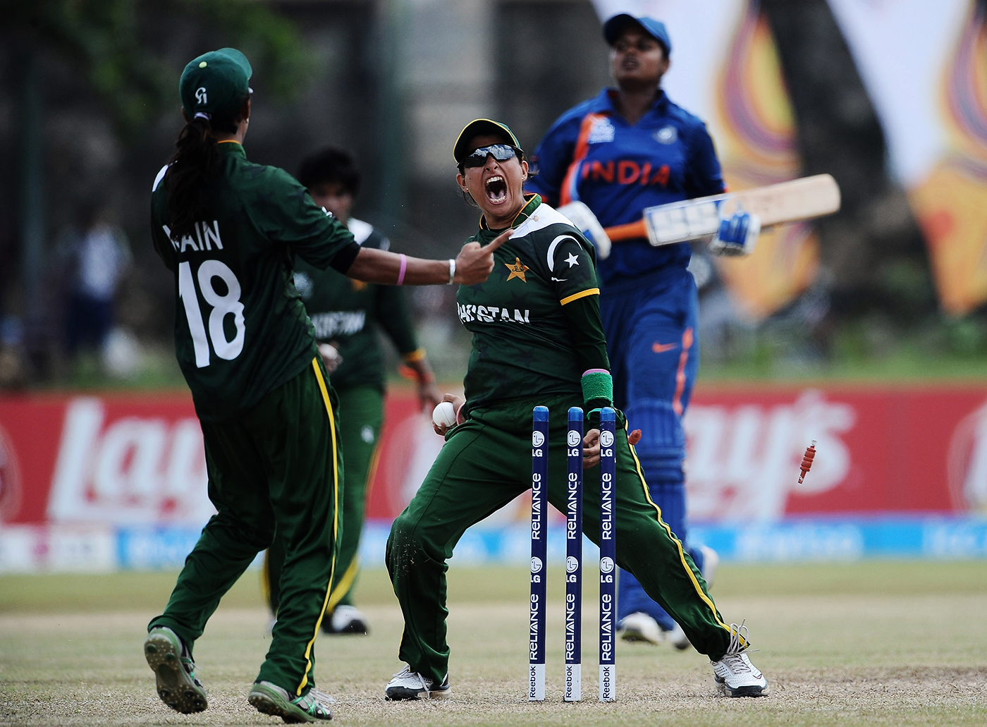 Sana Mir celebrates Pakistan's first win over India - at the 2012 World T20