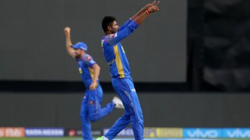 K Gowtham had Brendon McCullum caught in the first over