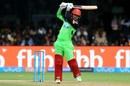 Quinton de Kock's follow-through after an on-drive, Royal Challengers Bangalore v Rajasthan Royals, IPL 2018, Bengaluru, April 15, 2018