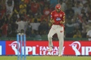 Barinder Sran is thrilled after taking a catch, Kings XI Punjab v Chennai Super Kings, IPL 2018, Mohali, April 15, 2018